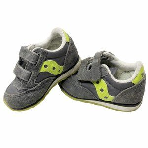 Saucony Lime Green & Grey Suede Sneakers
